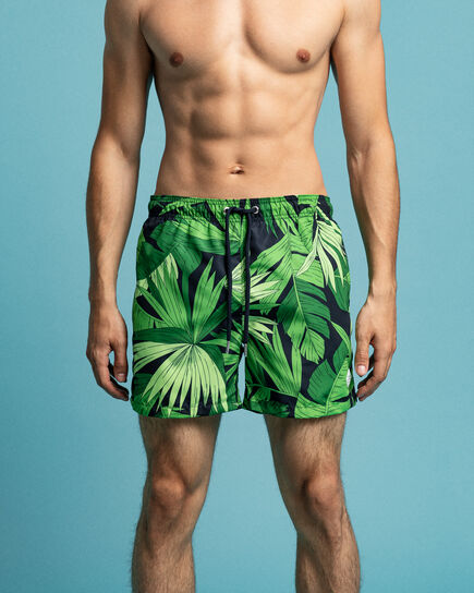 Classic fit badeshorts med Palm Breeze-tryk