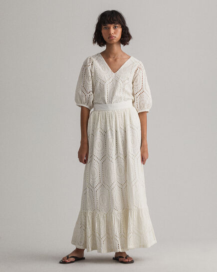 Broderie Anglaise Midi nederdel