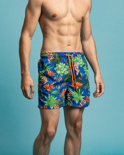 Classic fit badeshorts med Humming Garden-tryk
