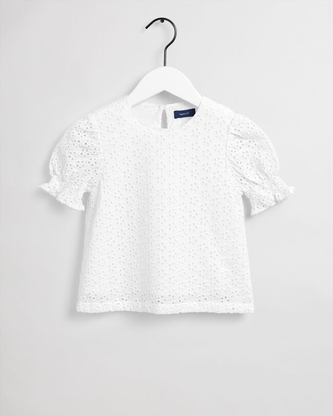 Girls Broderie Anglaise bluse