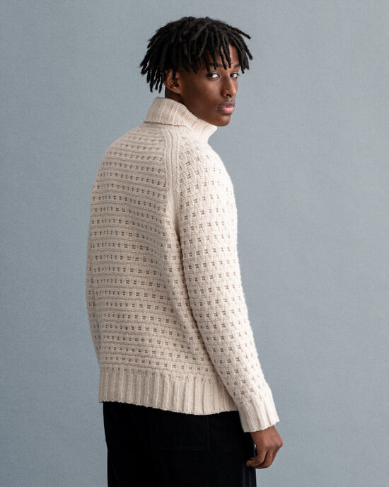 Chunky Texture sweater med rullekrave