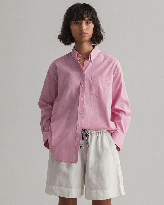 Relaxed fit stribet pinpoint Oxford-skjorte