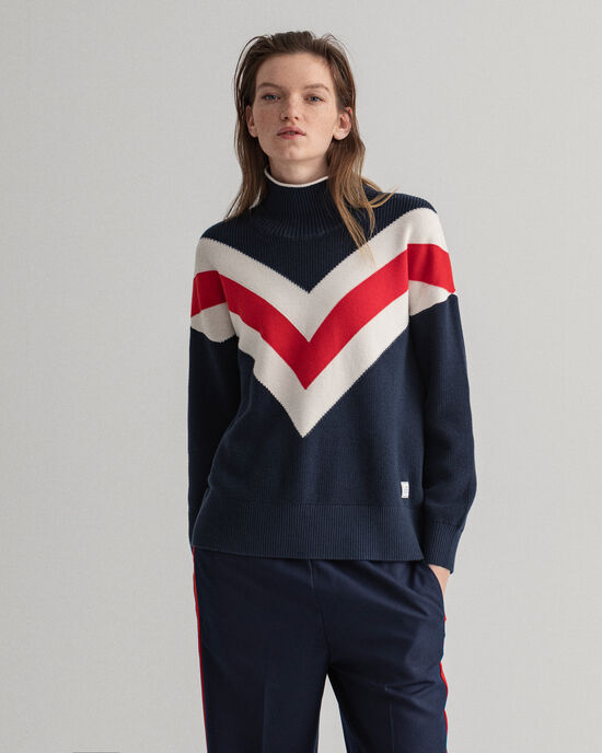 Graphic sweater med rullekrave
